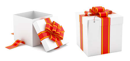 Open and Close Present Box on a White Background