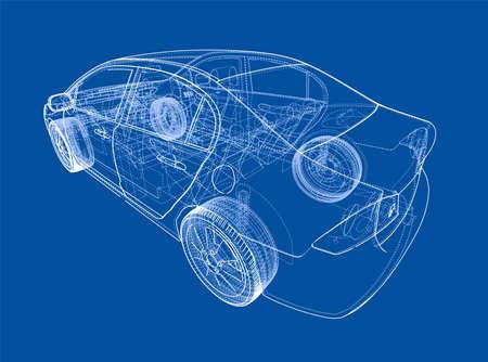 Car sketch 3d of insides of a car. Vector
