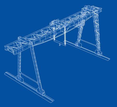 Gantry crane. Wire-frame. Vector EPS10 format