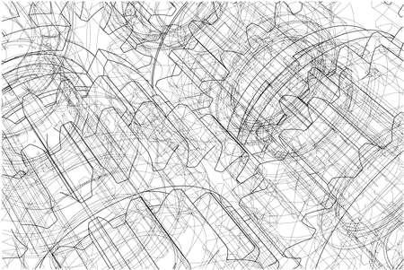 Gearbox sketch. Vector Stock Photo
