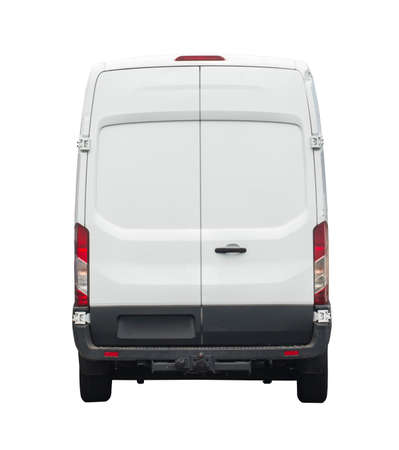 Rear of white van for your branding Imagens