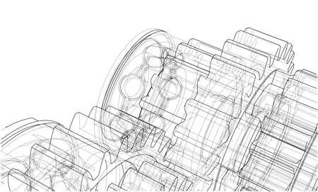 Gearbox sketch. Vector Illustration