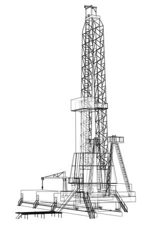 Oil rig. Detailed vector illustration isolated on white background. Vector rendering of 3d