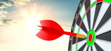 Target hit in center by arrows. 3d illustration