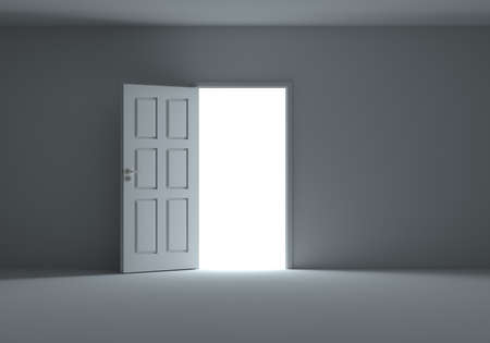 Open door with bright light