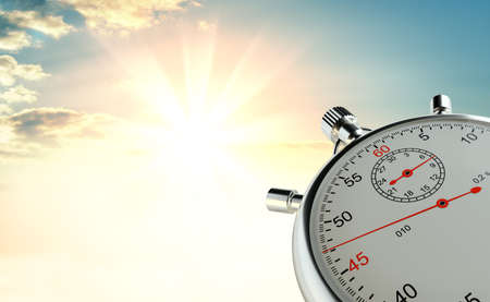 Analog stopwatch against the background of sunrise. The concept of speed and achievements. 3d illustration