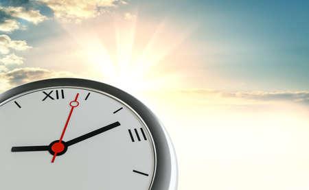 Clock against the background of sunrise