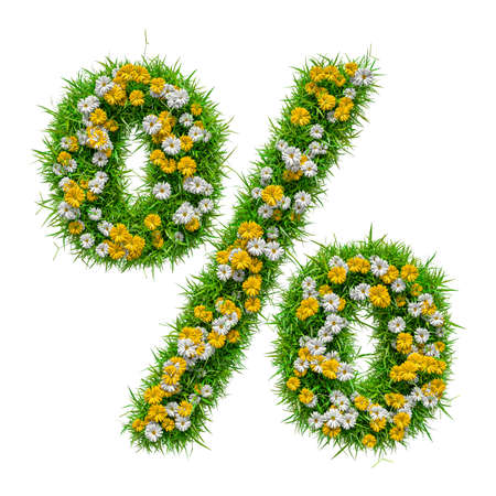 Percent Sign of Green Grass And Flowers Stock Photo
