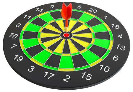 Dartboard with dart arrow hitting the center. 3d illustration