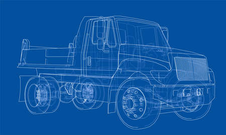Dump truck in thin line, wire frame illustration in blue background.