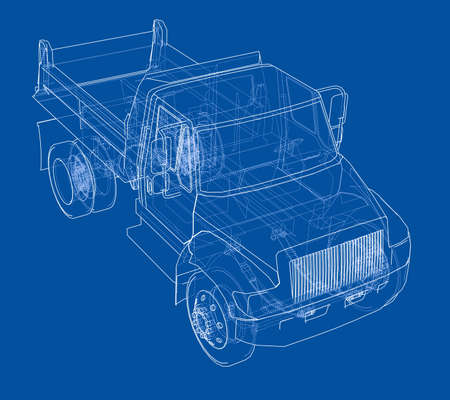 Dump truck, front view, in thin line, wire frame, in blue background. Illustration