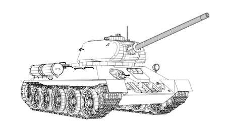 リアルな戦車の青写真。ベクター形式、3 d イラストレーションのレンダリング。  イラスト・ベクター素材