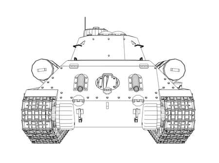 Blueprint of realistic tank. Illustration