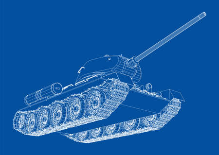Blueprint of realistic tank. Illustration
