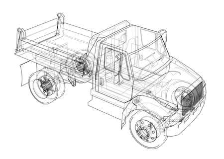 Dump truck. Vector rendering of 3d. Wire-frame style. The layers of visible and invisible lines are separated. Illustration