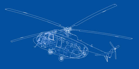 Engineering drawing of helicopter. Vector format, rendering of 3d Vettoriali
