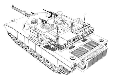 Blueprint of realistic tank. Vector format, rendering of 3d