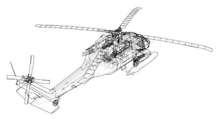 Helicopter outline illustration.