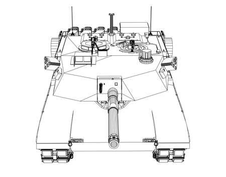 Blueprint of realistic tank illustration. Illustration