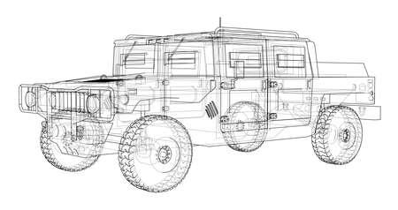전투 차량. 3D 렌더링의 벡터