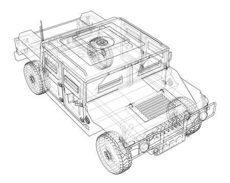 戦闘車。3 d ベクター レンダリング