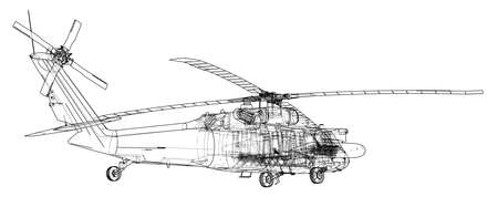 Helicopter outline illustration.