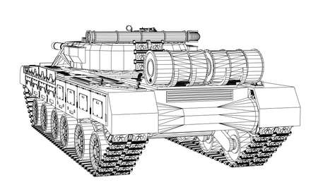 Blueprint of realistic tank Vector illustration.