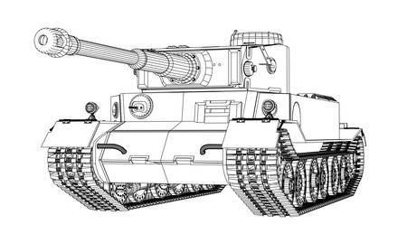 Blueprint of realistic tank. Vector EPS10 format, rendering of 3d  イラスト・ベクター素材