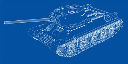 Blueprint of realistic tank. Vector EPS10 format, rendering of 3d Çizim