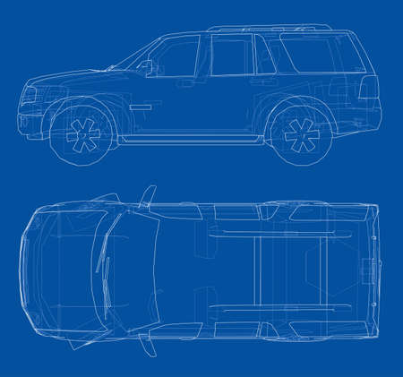 Car SUV drawing outline. Vector rendering of 3d. The layers of visible and invisible lines are separated Illustration