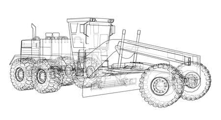Road grader. Vector rendering of 3d. The layers of visible and invisible lines are separated