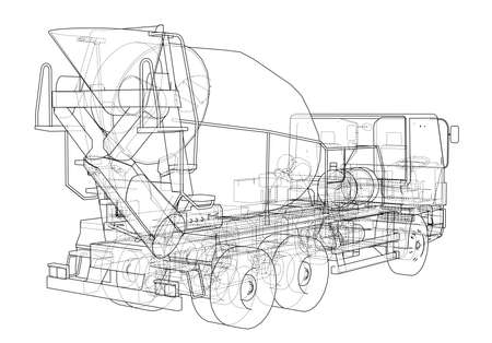 Truck mixer sketch illustration.  イラスト・ベクター素材