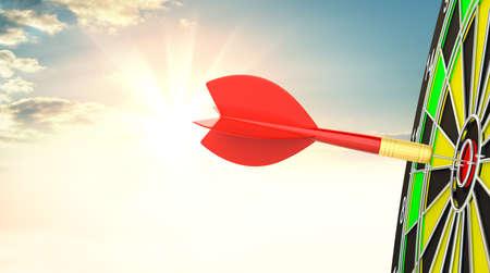 Target dart with arrow. 3d illustration Stock Photo