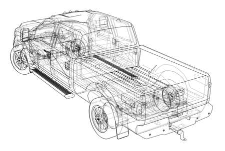 Car SUV drawing outline. Vector rendering of 3D. The layers of visible and invisible lines are separated