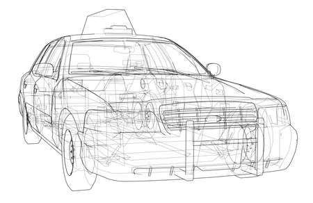 Taxi outline drawing. Vector rendering of 3d. The layers of visible and invisible lines are separated
