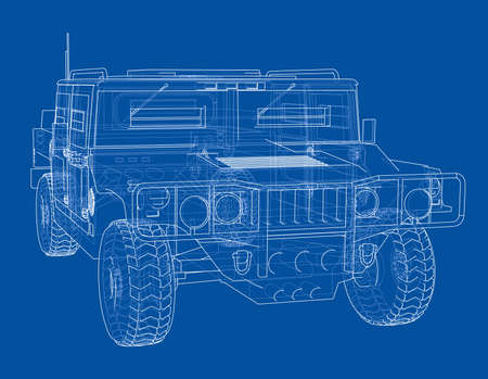 Combat car. Vector rendering of 3d. Wire-frame style. The layers of visible and invisible lines are separated