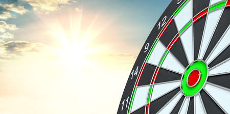 Target dart. 3d illustration. Sunrise on background Stock Photo