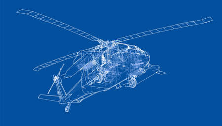Helicopter outline. Military equipment outline design.