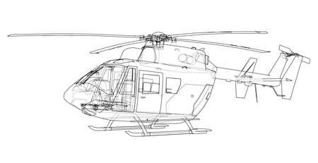 Overzichtstekening van helikopter. Vector rendering op 3d. De lagen zichtbare en onzichtbare lijnen zijn gescheiden
