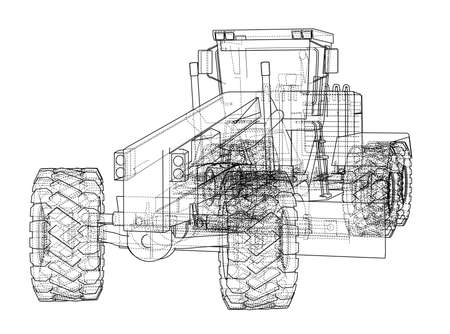 Road grader. Vector rendering of 3d. The layers of visible and invisible lines are separated.