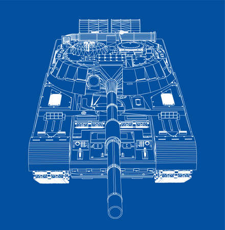 Blueprint of realistic tank. Vector EPS10 format, rendering of 3d Ilustrace