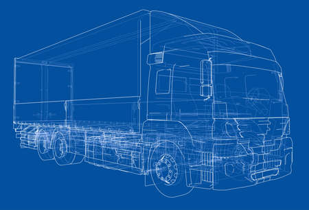 European truck outlined vector rendering of 3d. The layers of visible and invisible lines are separated Ilustração