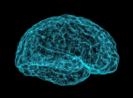 Concept of human intelligence with human brain on dark background. 3D Illustration