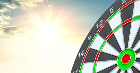 Target dart. 3d illustration. Sunrise on background Stock Photo