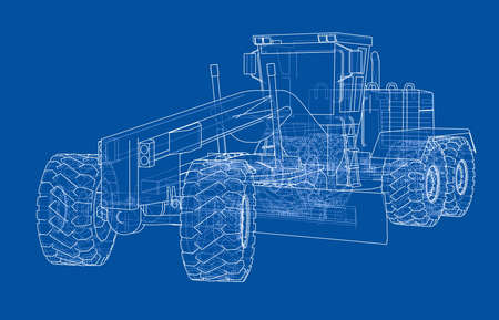 Road grader vector rendering. The layers of visible and invisible lines are separated. Illustration