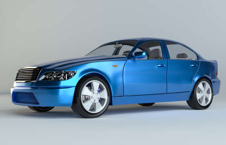 Car on gray studio background - blue paint