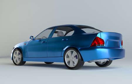 A CG render of a generic luxury blue sedan