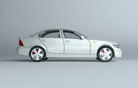 Car on gray studio background - white paint Stock Photo
