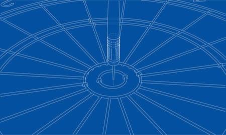 Arrow in target vector format, rendering of 3D.