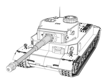 Blueprint of realistic tank vector illustration. Illustration